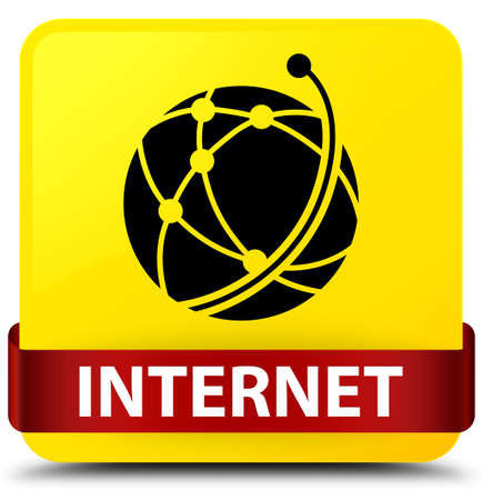 Internet (global network icon) isolated on yellow square button with red ribbon in middle abstract illustration