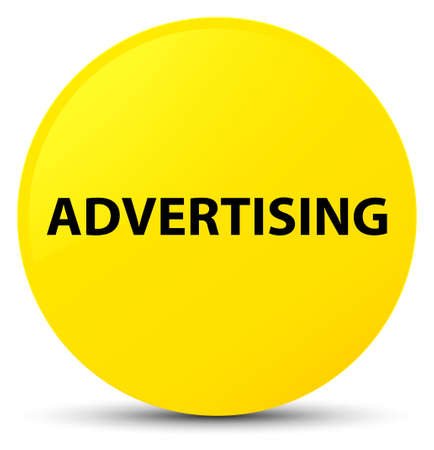 Advertising isolated on yellow round button abstract illustration