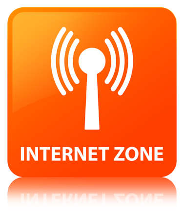 Internet zone (wlan network) isolated on orange square button reflected abstract illustration Stock Photo