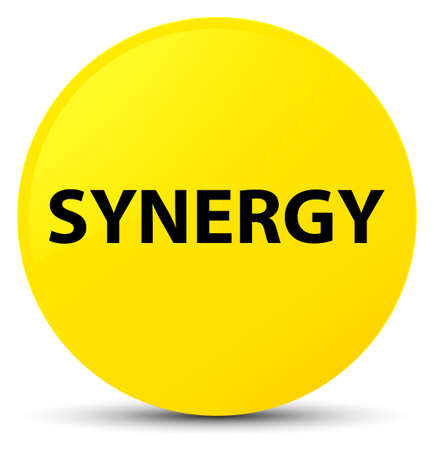 Synergy isolated on yellow round button abstract illustration Stock Photo