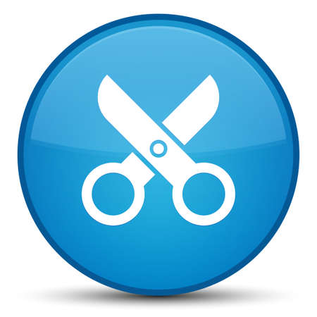 Scissors icon isolated on special cyan blue round button abstract illustration Stock Photo