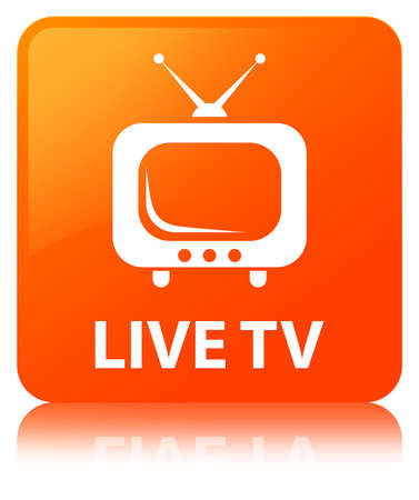 Live tv isolated on orange square button reflected abstract illustration Stock Photo