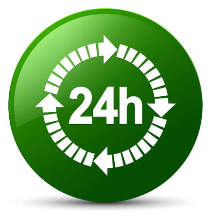 24 hours delivery icon isolated on green round button abstract illustration Stock Photo