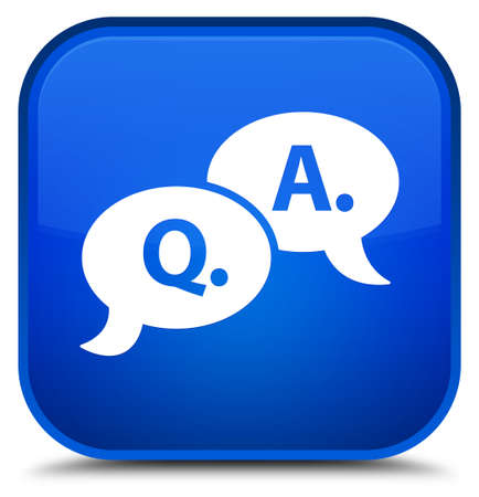 Question answer bubble icon isolated on special blue square button abstract illustration