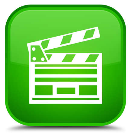 Cinema clip icon isolated on special green square button abstract illustration Stock Photo