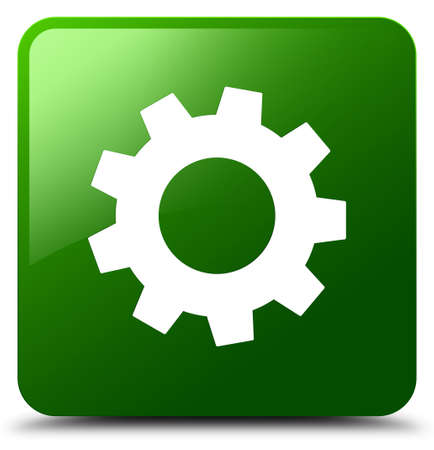 Process icon isolated on green square button abstract illustration
