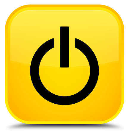 Power icon isolated on special yellow square button abstract illustration