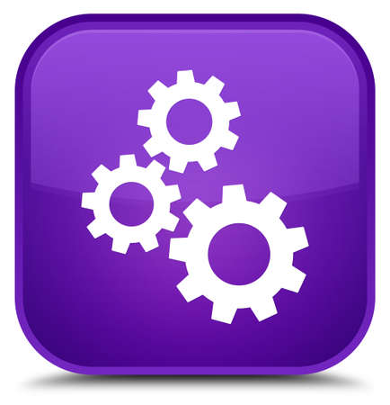 cogwheel: Gears icon isolated on special purple square button abstract illustration