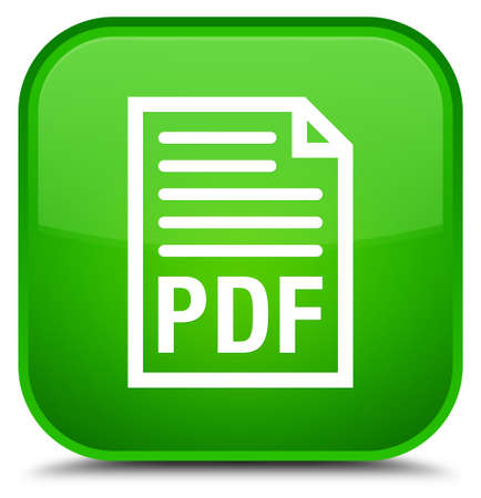 PDF document icon isolated on special green square button abstract illustration Stock Photo