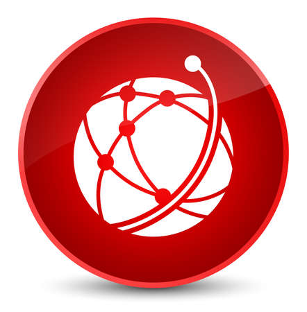 Global network icon isolated on elegant red round button abstract illustration Stock Photo