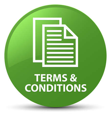 Terms and conditions (pages icon) isolated on soft green round button abstract illustration Stock Photo
