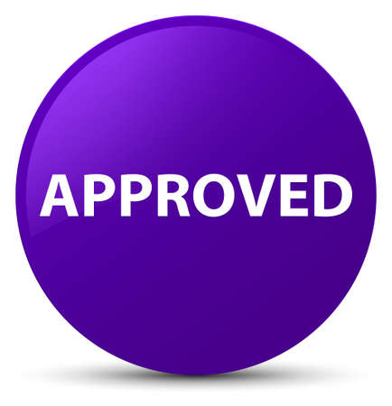 Approved isolated on purple round button abstract illustration