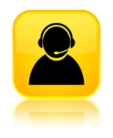 Customer care icon isolated on special yellow square button reflected abstract illustration Stock Photo