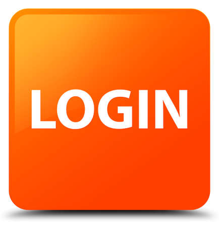 Login isolated on orange square button abstract illustration
