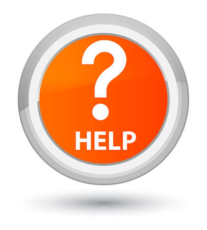 Help (question icon) isolated on prime orange round button abstract illustration