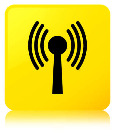 Wlan network icon isolated on yellow square button reflected abstract illustration