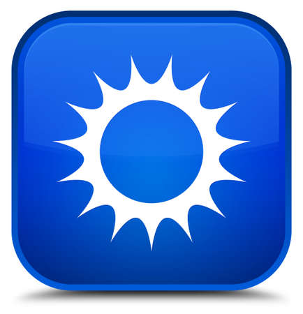 Sun icon isolated on special blue square button abstract illustration
