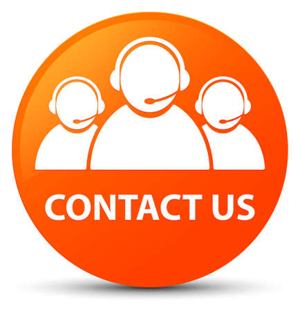 Contact us (customer care team icon) isolated on orange round button abstract illustration