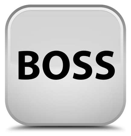 特別な白い四角ボタンの抽象イラストに孤立したボス 写真素材