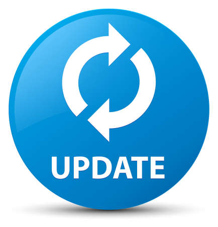 Update isolated on cyan blue round button abstract illustration