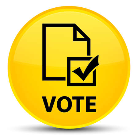 Vote (survey icon) isolated on special yellow round button abstract illustration