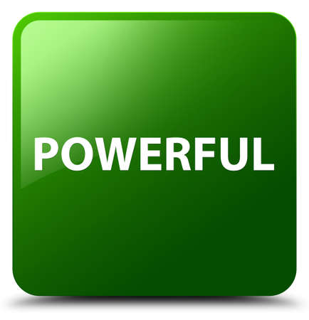 Powerful isolated on green square button abstract illustration
