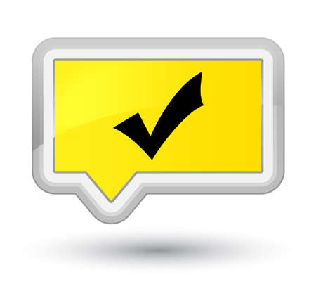 Validation icon isolated on prime yellow banner button abstract illustration