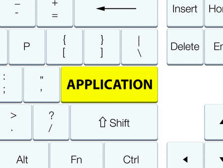 Application isolated on yellow keyboard button abstract illustration