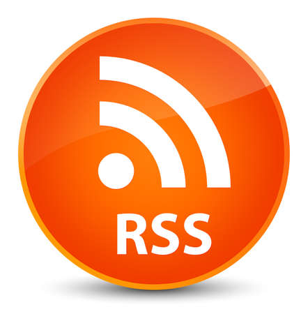 RSS isolated on elegant orange round button abstract illustration
