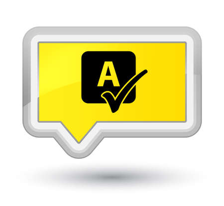 spells: Spell check icon isolated on prime yellow banner button abstract illustration
