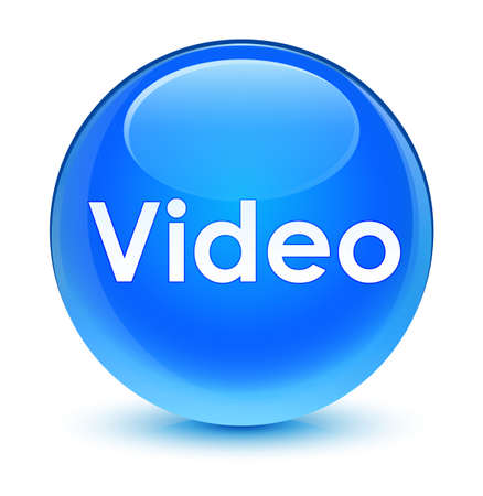 Video isolated on glassy cyan blue round button abstract illustration