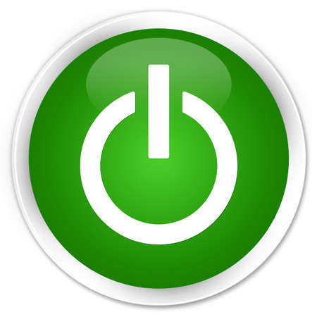 Power icon isolated on premium green round button abstract illustration Stock Photo