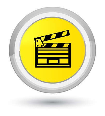 Cinema clip icon isolated on prime yellow round button abstract illustration