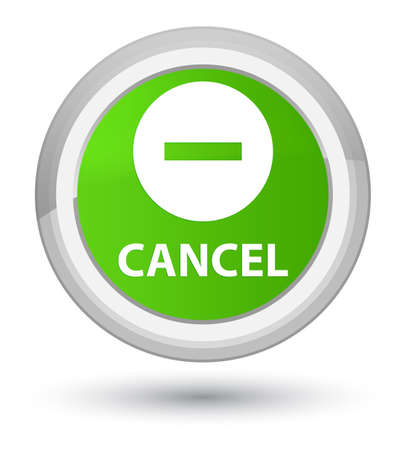 Cancel isolated on prime soft green round button abstract illustration