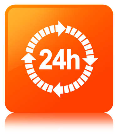 24 hours delivery icon isolated on orange square button reflected abstract illustration