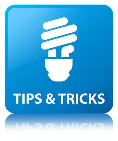 Tips and tricks (bulb icon) isolated on cyan blue square button reflected abstract illustration