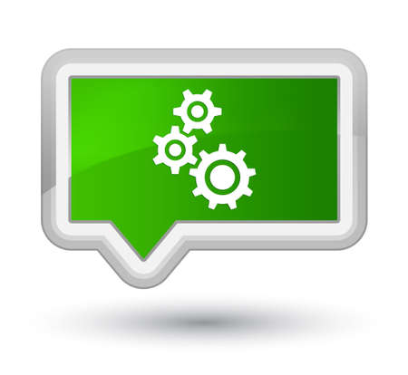 Gears icon isolated on prime green banner button abstract illustration