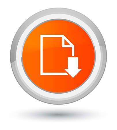Download document icon isolated on prime orange round button abstract illustration