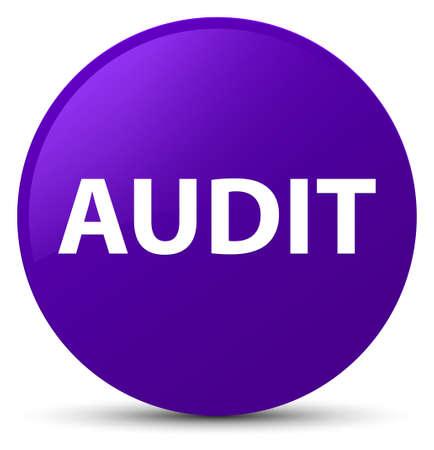 Audit isolated on purple round button abstract illustration Stock Photo