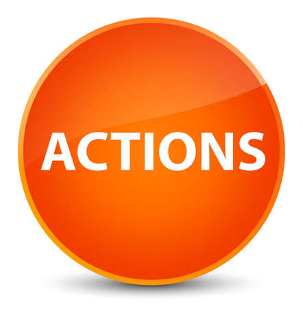 Actions isolated on elegant orange round button abstract illustration Фото со стока