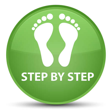 Step by step (footprint icon) isolated on special soft green round button abstract illustration Stock Photo