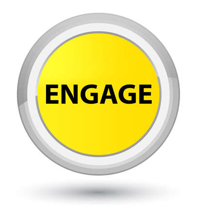 Engage isolated on prime yellow round button abstract illustration