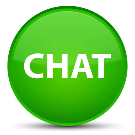 Chat isolated on special green round button abstract illustration