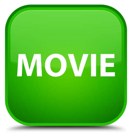 Movie isolated on special green square button abstract illustration