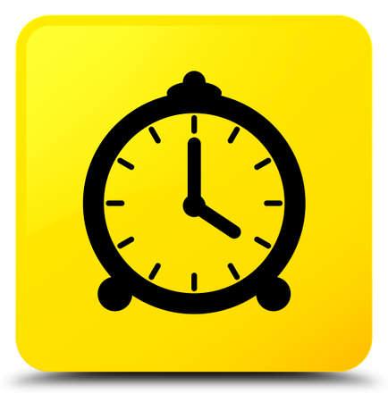 黄色の正方形のボタンの抽象的なイラストに分離された目覚まし時計アイコン