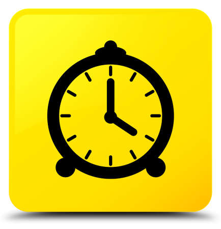 Alarm clock icon isolated on yellow square button abstract illustration