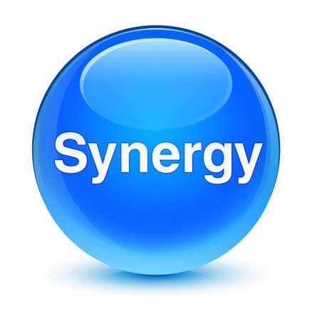 Synergie op glazige cyaan blauwe ronde knoop abstracte illustratie die wordt geïsoleerd Stockfoto