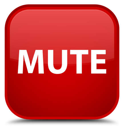Mute isolated on special red square button abstract illustration Stock Photo