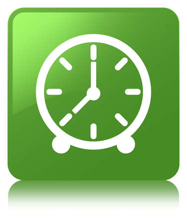 Clock icon isolated on soft green square button reflected abstract illustration Stock Photo