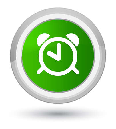 up time: Alarm clock icon isolated on prime green round button abstract illustration